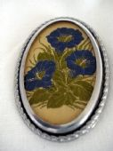 Chrome Framed  Brooch with Cigarette Silk Embroidery circa 1930s - 1940s  (SOLD)